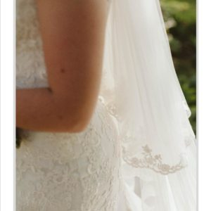 Soft Net and Lace Designer Wedding Dress with Matching Veil